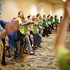 BEN GARVER — THE BERKSHIRE EAGLE<br /> Students take time to move and dance at the STRIVE youth leadership conference with Pamela Badila of Berkshire Pulse. The exercise was part of STRIVE (Students Teaching Respect Integrity Values and Equality) at the Pittsfield Plaza Hotel.