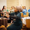 BEN GARVER — THE BERKSHIRE EAGLE<br /> Students take time to move and dance at the STRIVE youth leadership conference with Pamela Badila (pictured) of Berkshire Pulse. The exercise was part of STRIVE (Students Teaching Respect Integrity Values and Equality) at the Pittsfield Plaza Hotel.
