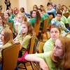"BEN GARVER — THE BERKSHIRE EAGLE<br /> Students listen to Robert Hackenson give a talk called ""Dynamic Influence: Cyberbullying and Appropriate use of Communication Technology"" at the STRIVE youth leadership conference. The talk was part of STRIVE (Students Teaching Respect Integrity Values and Equality) at the Pittsfield Plaza Hotel."