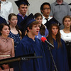 "MICHAEL WANBAUGH | THE GOSHEN NEWS<br /> Bethany Christian graduating senior Lucas Morgan sings during a concert choir performance of ""Seasons of Love"" during a commencement ceremony Sunday afternoon in the school gym."