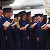 MICHAEL WANBAUGH | THE GOSHEN NEWS<br /> Members of the Bethany Christian High School class of 2013 sing together during graduation ceremonies Sunday in the school gym.