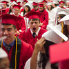 SAM HOUSEHOLDER | THE GOSHEN NEWS<br /> Frank Devincent yawns while waiting in cafeteria for the start of Goshen High School's commencement cermeony Sunday.