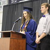 JULIE CROTHERS BEER | THE GOSHEN NEWS<br /> Clinton Christian School class president and 2016 valedictorian Bethany Mullet shares a short speech to welcome next year's senior class president Hunter Hathaway into his new role.