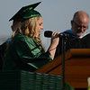 HALEY WARD | THE GOSHEN NEWS<br /> Mary Balentine gives the welcome address during Concord High School's Graduation on Thursday.