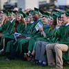 HALEY WARD | THE GOSHEN NEWS<br /> Students laugh during as teacher Craig Shafer gives his address during Concord High School's Graduation on Thursday.