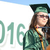 HALEY WARD | THE GOSHEN NEWS<br /> Valedictorian Abigail Alwine speaks during Concord High School's Graduation on Thursday.