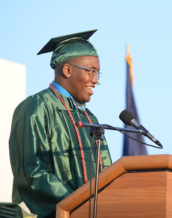 HALEY WARD | THE GOSHEN NEWS<br /> Student Body President My'Kell McGee presents the class of 2016 during Concord High School's Graduation on Thursday.