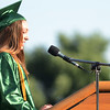 HALEY WARD | THE GOSHEN NEWS<br /> Valedictorian Shannon Purcell speaks during Concord High School's Graduation on Thursday.
