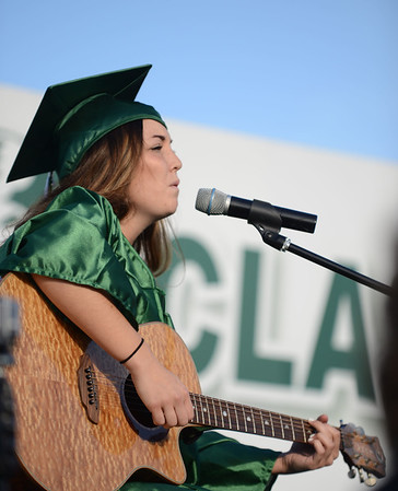 "HALEY WARD | THE GOSHEN NEWS<br /> Nicky Chupps performs ""Wherever I Go"" during Concord High School's Graduation on Thursday."