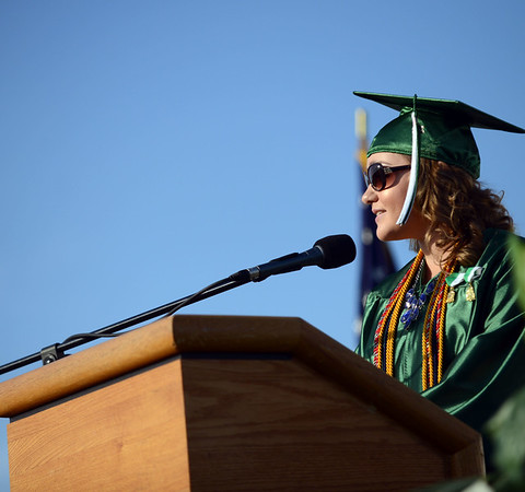 HALEY WARD | THE GOSHEN NEWS<br /> Katie Foy speaks as the selected speaker by her class during Concord High School's Graduation on Thursday.