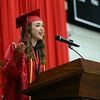 "HALEY WARD | THE GOSHEN NEWS<br /> Regan Beck gives her speech called ""It's a Great Day to Be a Panther"" during NorthWood High School's Commencement on Friday."