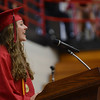"HALEY WARD | THE GOSHEN NEWS<br /> Katlyn Miller gives her speech called Carpe Diem"" during NorthWood High School's Commencement on Friday."
