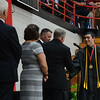 HALEY WARD | THE GOSHEN NEWS<br /> Connor Miller receives his dilpoma during NorthWood High School's Commencement on Friday.