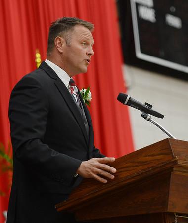 HALEY WARD | THE GOSHEN NEWS<br /> Principal David Maugel speaks during NorthWood High School's Commencement on Friday.