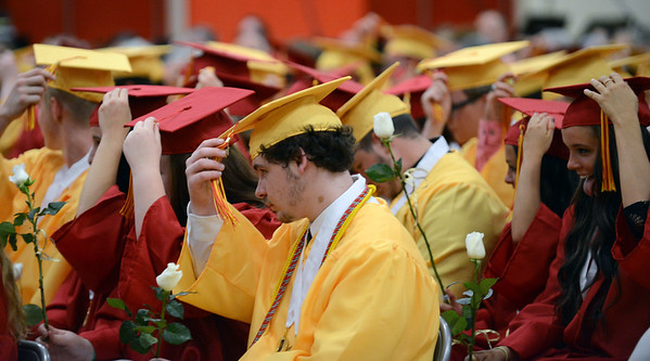 HALEY WARD | THE GOSHEN NEWS<br /> Students turn their tassels to signify graduating during the Westview Jr-Sr High School Graduation on Friday.