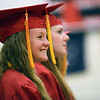HALEY WARD | THE GOSHEN NEWS<br /> Hope Lynn Brandenberger smiles as she is recognized for the National Honors Society during the Westview Jr-Sr High School Graduation on Friday.