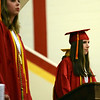 HALEY WARD | THE GOSHEN NEWS<br /> Co-Valedictorian Sierra Weaver speaks during the Westview Jr-Sr High School Graduation on Friday.
