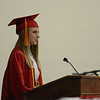 HALEY WARD | THE GOSHEN NEWS<br /> Senior Class President Miranda Kresse speaks during the Westview Jr-Sr High School Graduation on Friday.