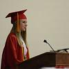 HALEY WARD | THE GOSHEN NEWS<br /> Senior Class President Miranda Kresse speaks during the Westview Jr-Sr High School Graduation on Friday.