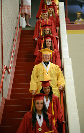 HALEY WARD | THE GOSHEN NEWS<br /> Students walk down the stairs for the processional during the Westview Jr-Sr High School Graduation on Friday.