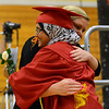 HALEY WARD | THE GOSHEN NEWS<br /> Ameera Aziz Alshuga hugs senior class sponsor Jennifer May during the Westview Jr-Sr High School Graduation on Friday.