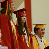 HALEY WARD | THE GOSHEN NEWS<br /> Co-Valedictorians Miranda Kresse, Maria McCoy, Sierra Weaver and Asher Gingerich (left to right) speak during the Westview Jr-Sr High School Graduation on Friday.