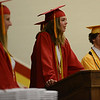 HALEY WARD | THE GOSHEN NEWS<br /> Co-Valedictorian Maria McCoy speaks during the Westview Jr-Sr High School Graduation on Friday.