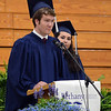 HALEY WARD | THE GOSHEN NEWS<br /> Gianella Salas and Ryan Oostland give the student address during Bethany Christian High School's commencement on Sunday.