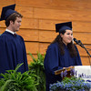 HALEY WARD | THE GOSHEN NEWS<br /> Ryan Oostland and Gianella Salas give the student address during Bethany Christian High School's commencement on Sunday.