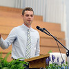 HALEY WARD | THE GOSHEN NEWS<br /> Former Spanish teacher Craig Mast gives the commencement address during Bethany Christian High School's commencement on Sunday.