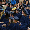 HALEY WARD | THE GOSHEN NEWS<br /> Students listen to the commencement address by former-teacher Craig Mast during Bethany Christian High School's commencement on Sunday.