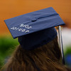 HALEY WARD | THE GOSHEN NEWS<br /> Senior Zoe Hunley, who decorated her cap, watches the Bethany Christian High School's commencement on Sunday.