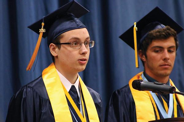 LYNNE ZEHR   THE GOSHEN NEWS Fairfield senior Jeffrey Yoder speaks during the Top Ten address during Sunday's commecement at the high school.