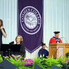 SHERRY VAN ARSDALL | THE GOSHEN NEWS<br /> James Brenneman, president of Goshen College, welcomed the graduates, faculty along with family members and friends during the 118th Goshen College Commencement Sunday in the Roman Gingerich Recreation-Fitness Center.