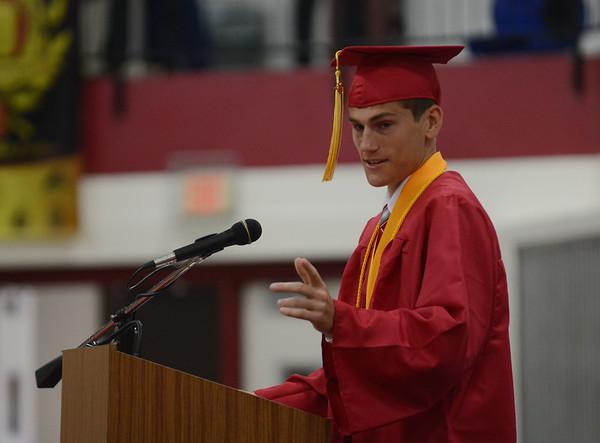 HALEY WARD   THE GOSHEN NEWS<br /> Summa Cum Laude Evan Beck speaks during Goshen High School's Commencement on Sunday.