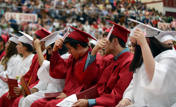 HALEY WARD | THE GOSHEN NEWS<br /> Students turn their tassels during Goshen High School's Commencement on Sunday.