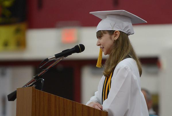 HALEY WARD | THE GOSHEN NEWS<br /> Summa Cum Laude Sophie Troyer speaks during Goshen High School's Commencement on Sunday.