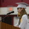 HALEY WARD | THE GOSHEN NEWS<br /> Summa Cum Laude Sophie Troyer speaks during Goshen High School's Commencement on Sunday.