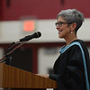 HALEY WARD | THE GOSHEN NEWS<br /> Superintendent Dr. Diane Woodworth speaks during Goshen High School's Commencement on Sunday.