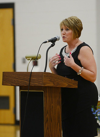 HALEY WARD | THE GOSHEN NEWS<br /> Sixth grade teacher Rhoda McFarland speaks during the Sixth Grade Celebration on Tuesday night at New Paris Elementary School.