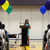 "HALEY WARD | THE GOSHEN NEWS<br /> Brooke Sanchez, 12, speaks during the Sixth Grade Celebration on Tuesday night at New Paris Elementary School. ""I'm going to miss Mr. Godfrey teaching us and making many, many memories with my friends,"" she said"