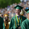 HALEY WARD | THE GOSHEN NEWS<br /> Students file out of the football field after graduating during Northridge High School's Commencement on Sunday.