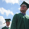 HALEY WARD | THE GOSHEN NEWS<br /> Students walk into the football stadium during the processional of Northridge High School's Commencement on Sunday.