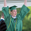 HALEY WARD | THE GOSHEN NEWS<br /> Conner Graber celebrates while receiving his diploma during Northridge High School's Commencement on Sunday.