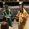 JULIE CROTHERS BEER | THE GOSHEN NEWS<br /> Salutatorian Dylan Elpusan and valedictorian Madeline Birch pick up their diplomas after Wawasee High School's graduation ceremony Sunday.