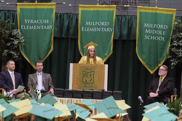 JULIE CROTHERS BEER | THE GOSHEN NEWS<br /> Madeline Birch, valedictorian of the Wawasee High School class of 2016, speaks during the commencement ceremony Sunday at the school.