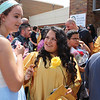 JULIE CROTHERS BEER | THE GOSHEN NEWS<br /> Jessica Garcia, a 2016 graduate of Wawasee High School, greets friends and family outside the school after Sunday's commencement ceremony.