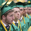 JULIE CROTHERS BEER | THE GOSHEN NEWS<br /> Nick LeCount, a member of the Wawasee High School class of 2016, awaits his chance to pick up his diploma during the commencement ceremony Sunday at the school.