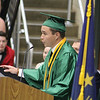 JULIE CROTHERS BEER | THE GOSHEN NEWS<br /> Dylan Elpusan, salutatorian of the Wawasee High School class of 2016, speaks during commencement Sunday at the school.