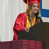 JOHN KLINE | THE GOSHEN NEWS<br /> West Noble High School Senior Co-Vice President Kendal Baker provides the welcome address during the school's graduation ceremony Sunday afternoon.